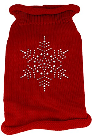 Snowflake Rhinestone Knit Pet Sweater LG Red